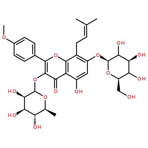淫羊藿单甙  订购信息 cas# 489-32-7   英文名称: icariin 分子式图片
